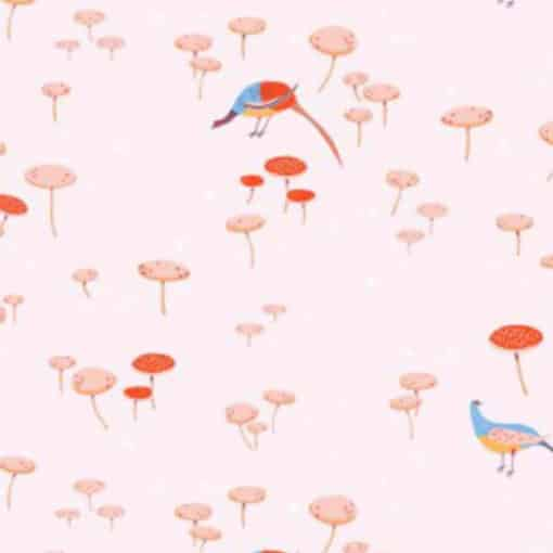 Lovely Hunt Pheasants and Mushrooms Cotton Fabric at More Sewing